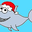 Copy of Copy of Cute Christmas Shark - on blue by Adrienne Body