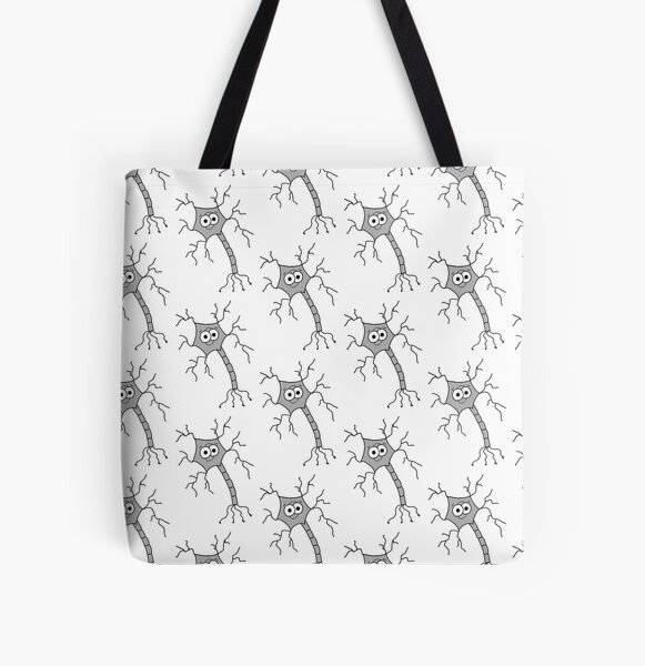 Cute Neuron - on white All Over Print Tote Bag