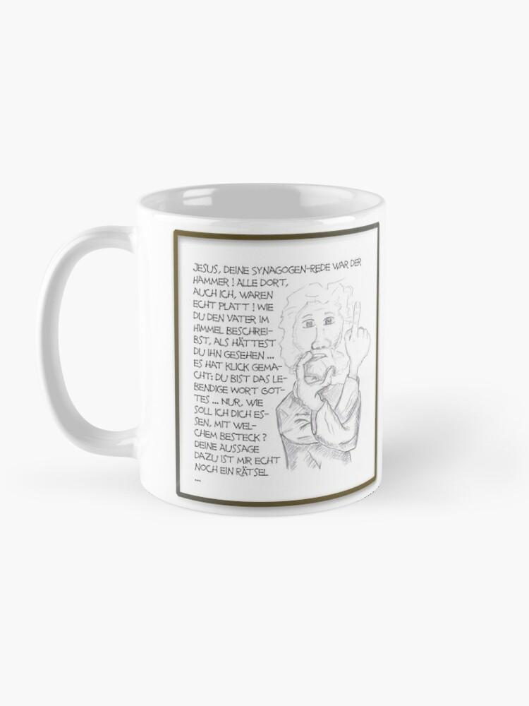 Alternative Ansicht von Petrus trifft Jesus - Cartoon-Design - lebendiges Wort essen ? Tasse