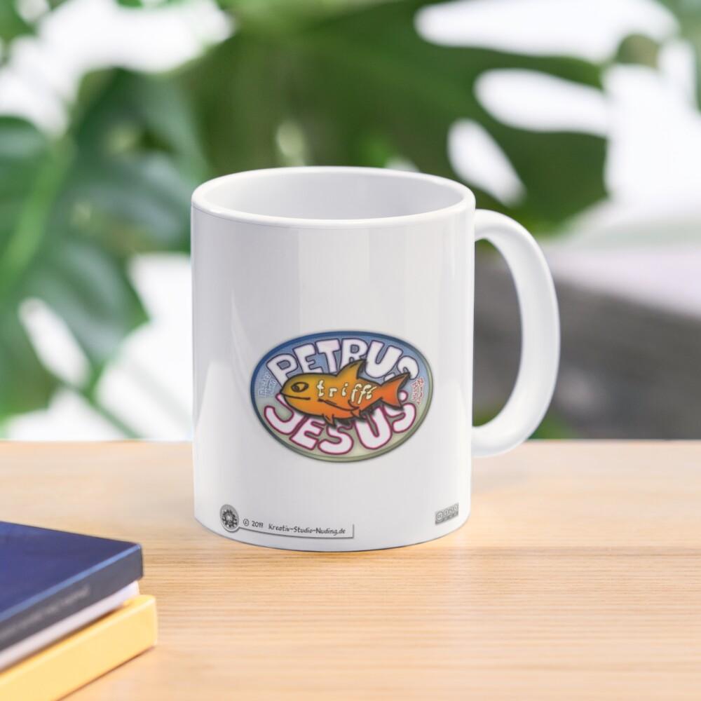 Petrus trifft Jesus - Cartoon-Design - lebendiges Wort essen ? Tasse