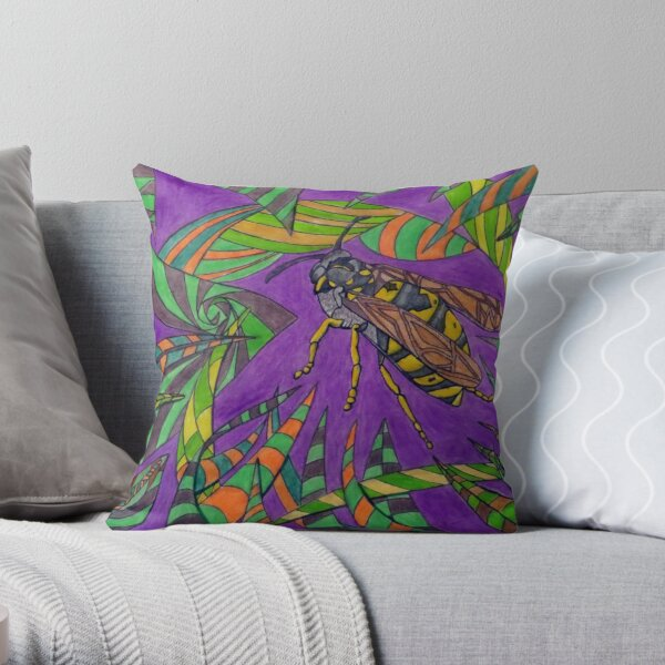 480 - THE LAST WASP OF THE YEAR - DAVE EDWARDS - MIXED MEDIA - 2019 Throw Pillow
