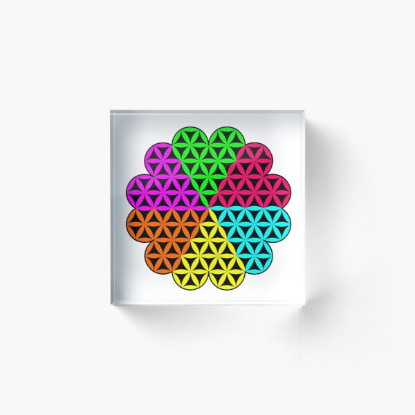 Heart of Life x 6 - Flower of Heart, colorful  design. Acrylic Block