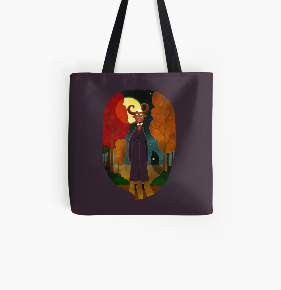 Deer creature at night | Color Illustration All Over Print Tote Bag