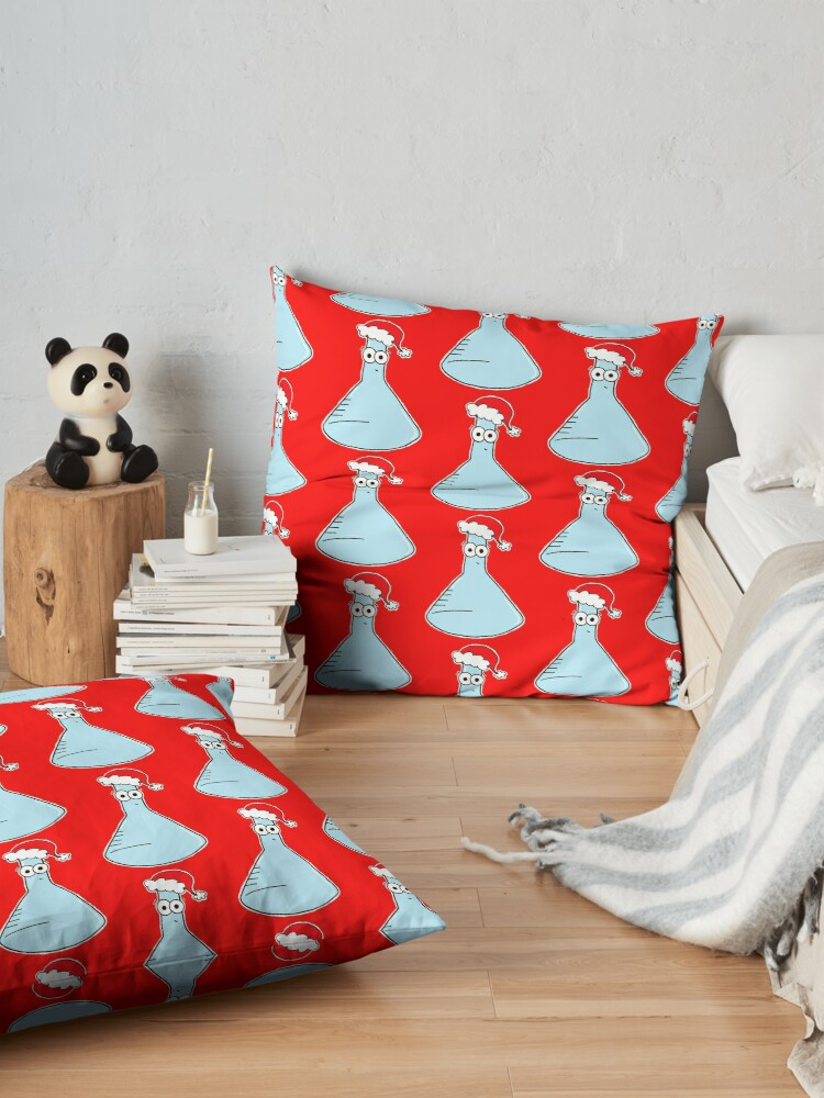 Alternate view of Copy of Christmas Flask - on red Floor Pillow