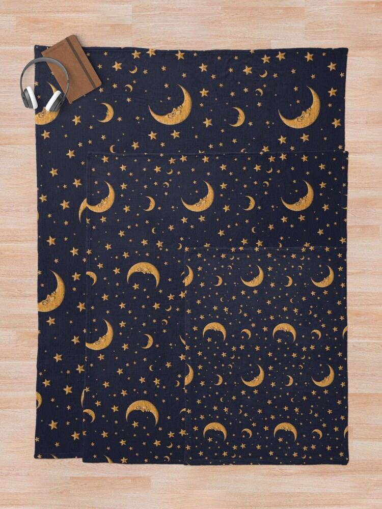 Alternate view of Vintage Gold Moon And Stars on Blue Throw Blanket