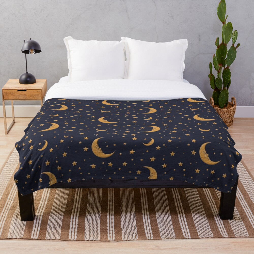 Vintage Gold Moon And Stars on Blue Throw Blanket