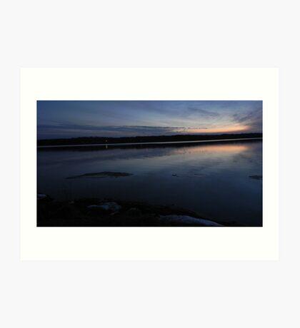 A Sunset Ice-Melt on Clear Fork Reservoir Art Print