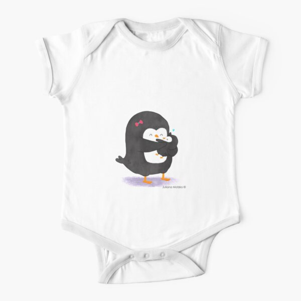 Mother Penguin's Love Short Sleeve Baby One-Piece