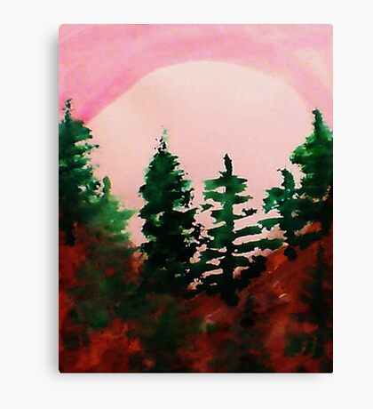 Sunrise Over the Pines, watercolor Canvas Print