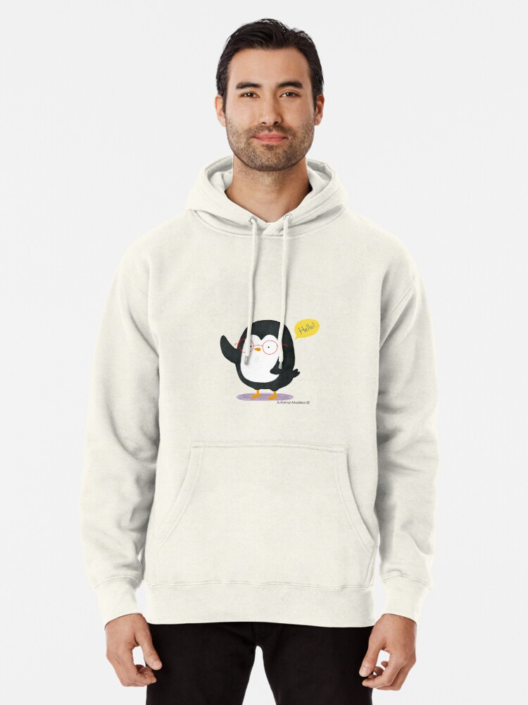 Alternate view of Albert Penguin wants to say Hello ! Pullover Hoodie