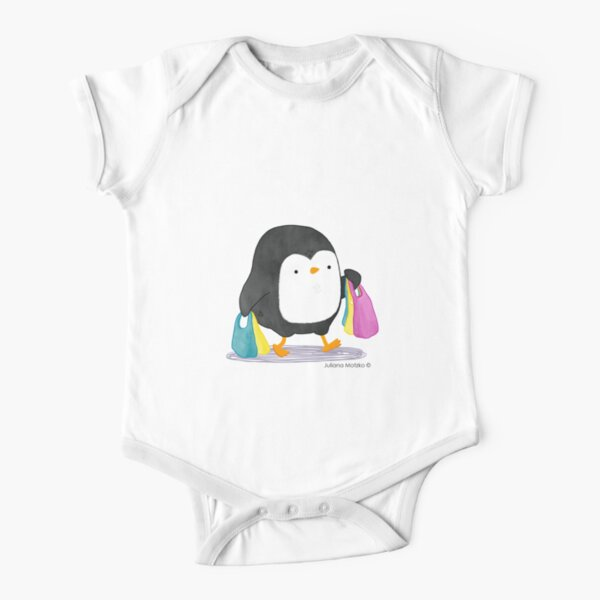 Penguins love shopping! Short Sleeve Baby One-Piece