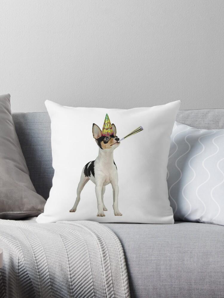 Toy Fox Terrier Birthday Throw Pillow By Cafepretzel Redbubble