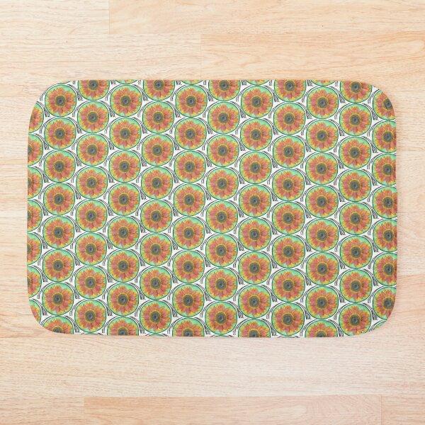 Sunflower Watercolor #1  Bath Mat