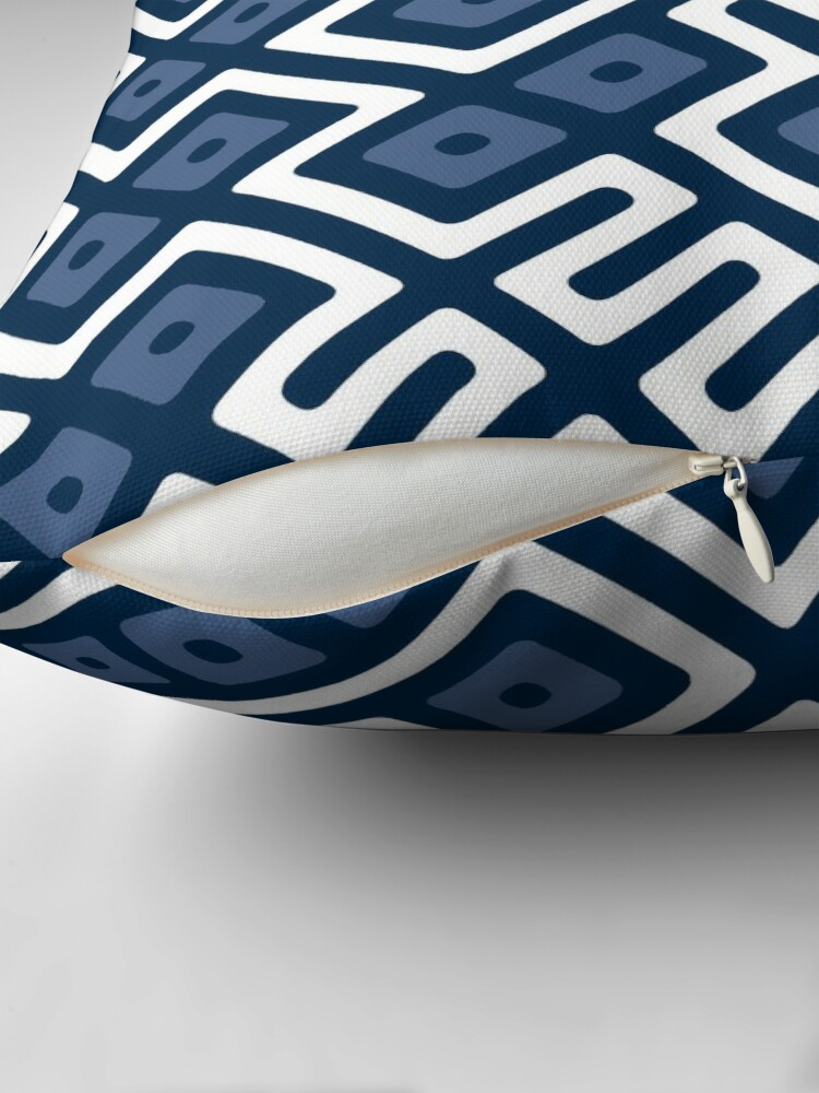 Alternate view of Maze Abstract Pattern - White / Navy Throw Pillow