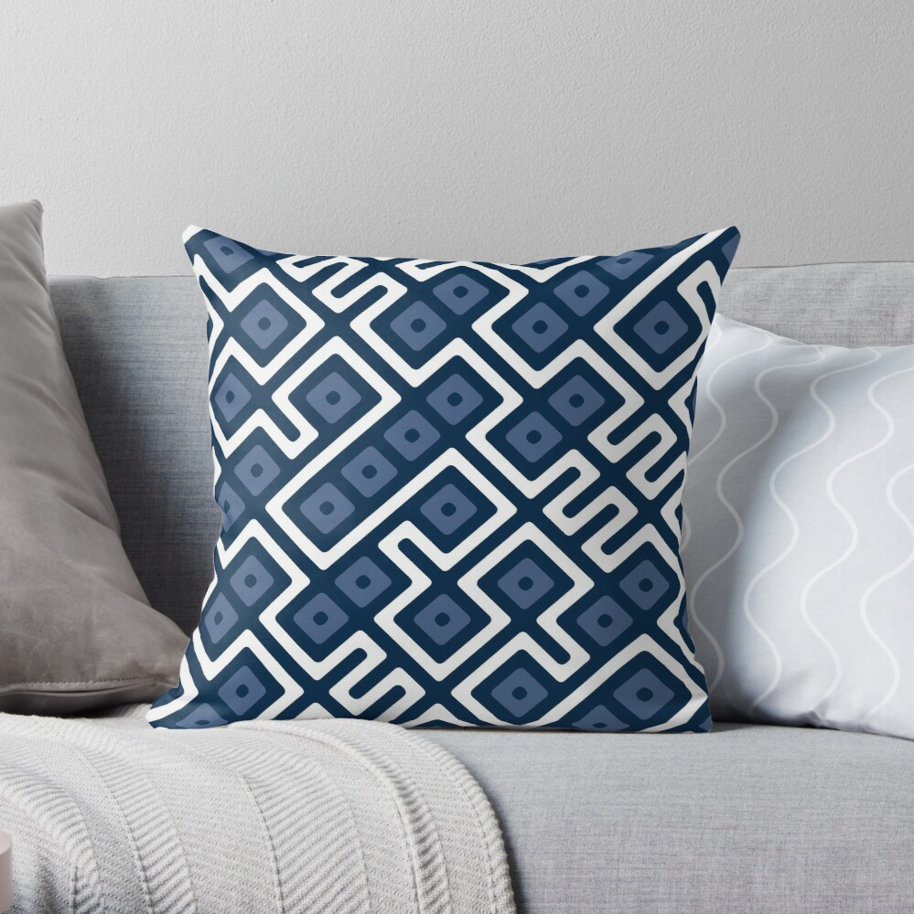 Maze Abstract Pattern - White / Navy Throw Pillow