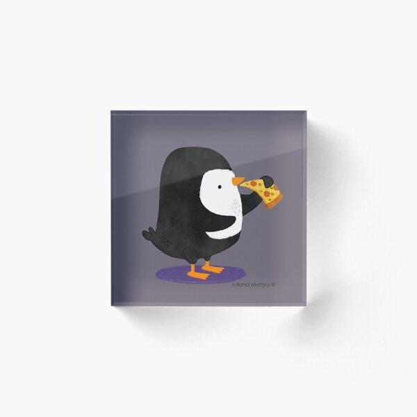 Steve Penguin loves Pizza! Acrylic Block