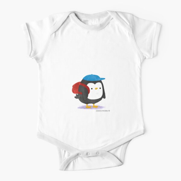 Jimmy Penguin goes to school Short Sleeve Baby One-Piece