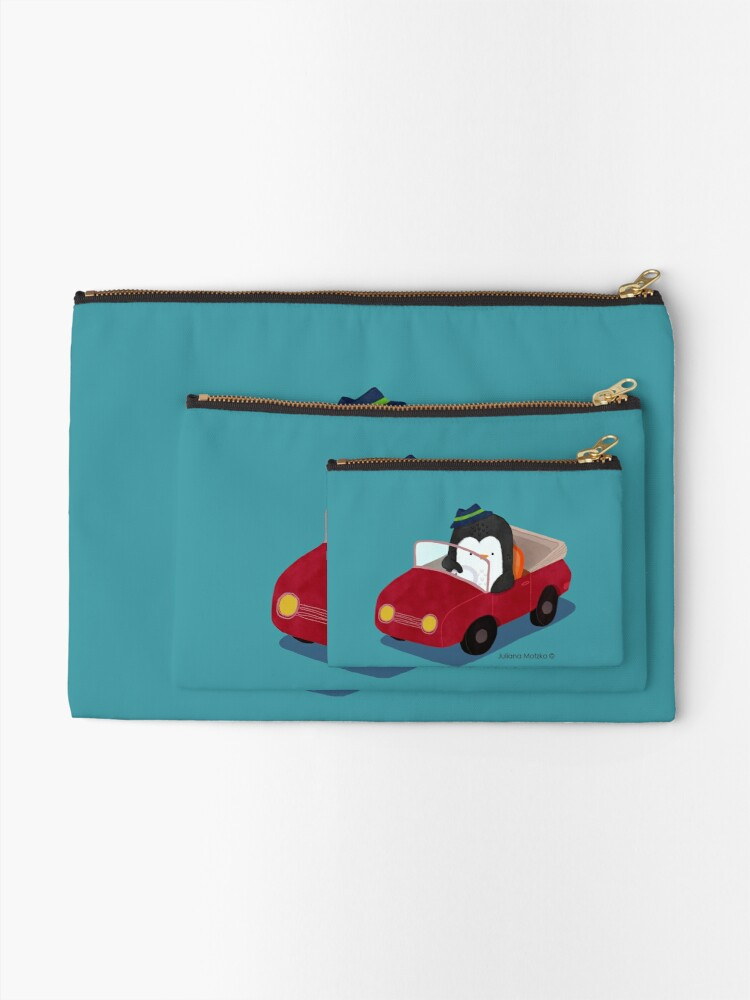 Alternate view of Steve loves driving his car Zipper Pouch