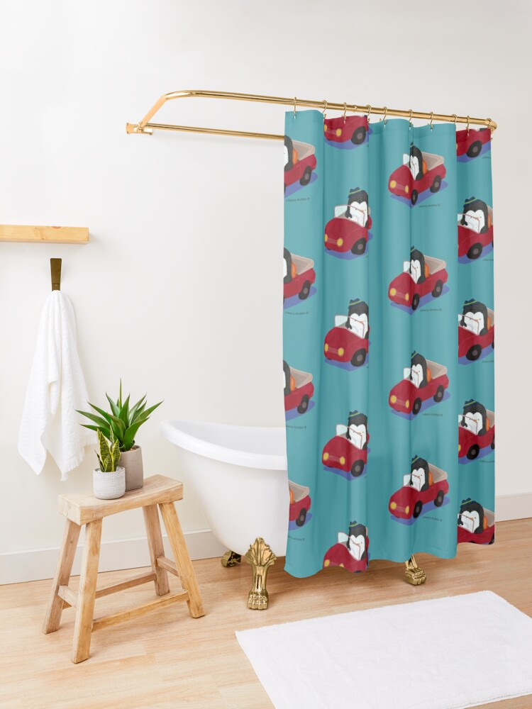 Alternate view of Steve loves driving his car Shower Curtain