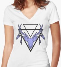 Triangle Deer H 2 Women's Fitted V-Neck T-Shirt
