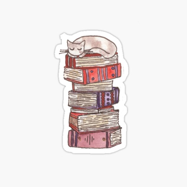 Stack of books with a cat Sticker