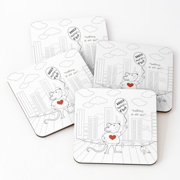 MantraMouse® CityScape Letting it All Go Coloring Page Black and White Coasters (Set of 4)
