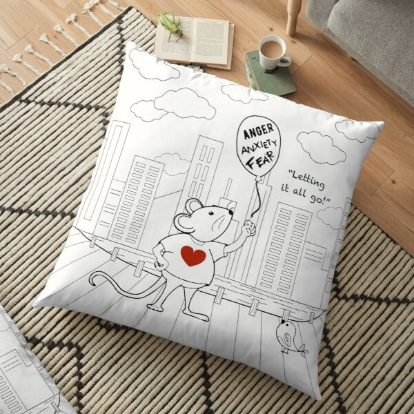 MantraMouse® CityScape Letting it All Go Coloring Page Black and White Floor Pillow