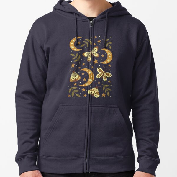 Moons and moths Zipped Hoodie