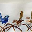 "Blue Wrens  ""The Trio"" (sold) by sandysartstudio"