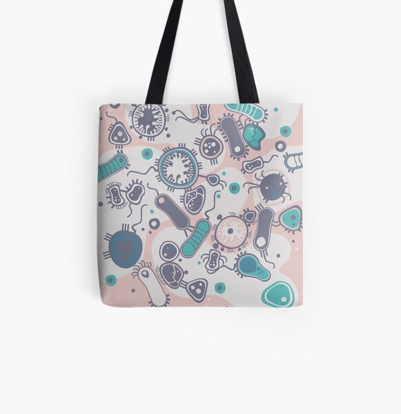 Eukaryote (pink / turquoise) All Over Print Tote Bag
