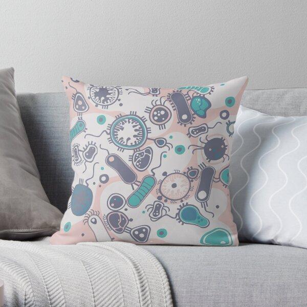 Eukaryote (pink / turquoise) Throw Pillow