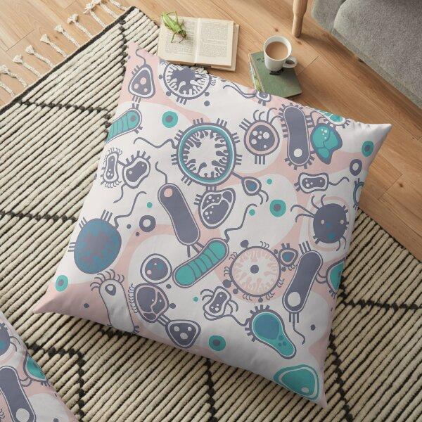Eukaryote (pink / turquoise) Floor Pillow