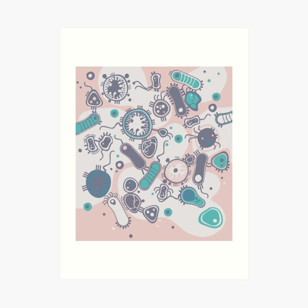 Eukaryote (pink / turquoise) Art Print