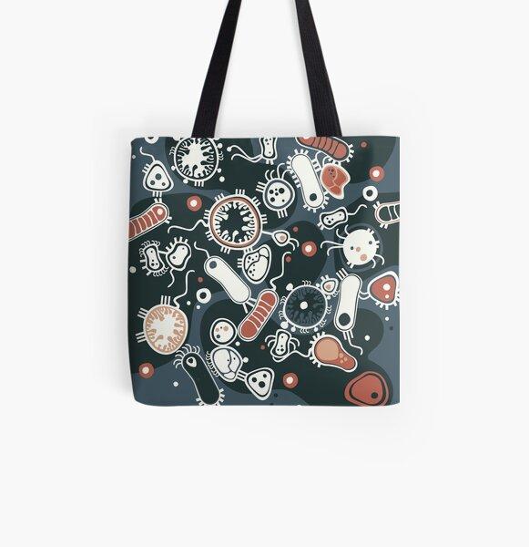 Eukaryote (dark + blue) All Over Print Tote Bag
