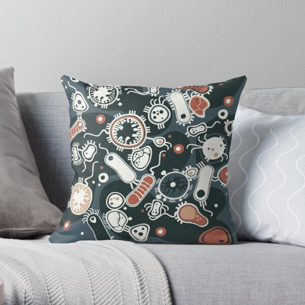 Eukaryote (dark + blue) Throw Pillow