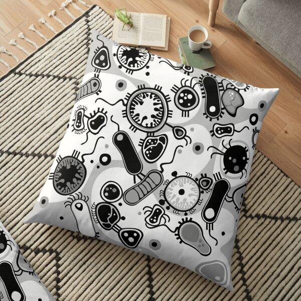 Eukaryote (black / white) Floor Pillow