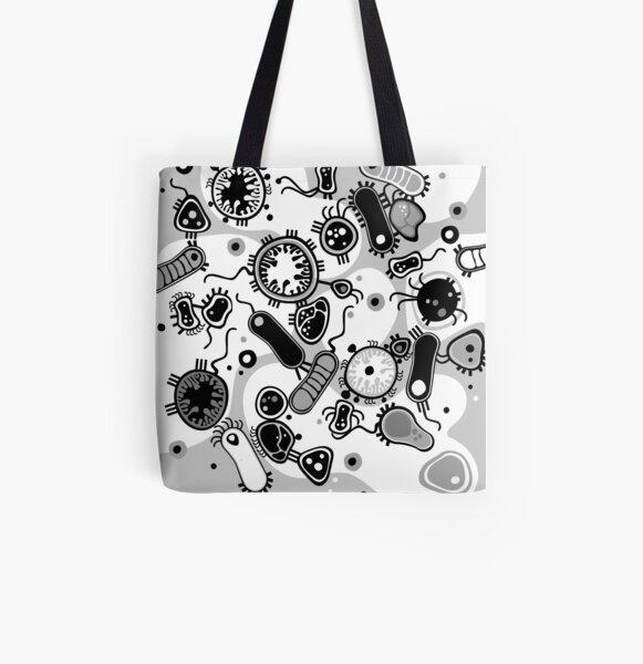 Eukaryote (black / white) All Over Print Tote Bag