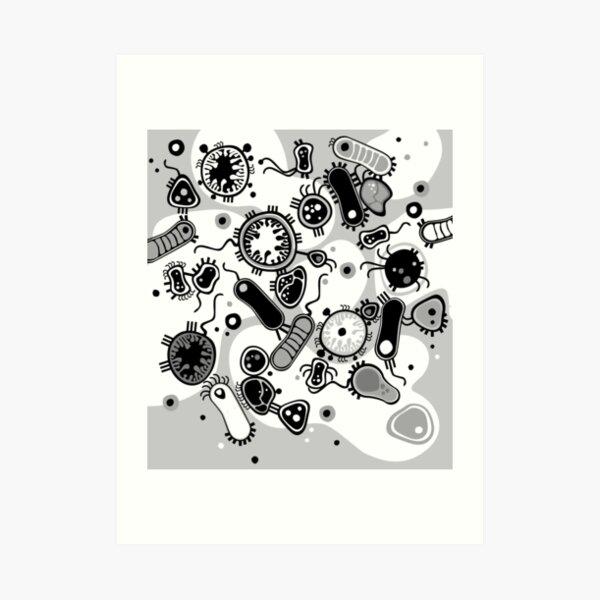 Eukaryote (black / white) Art Print