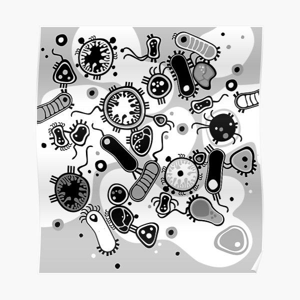 Eukaryote (black / white) Poster