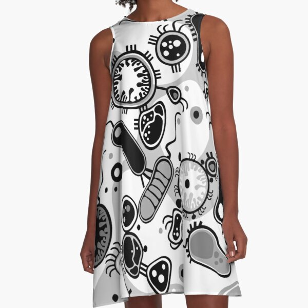 Eukaryote (schwarz/weiß) A-Linien Kleid