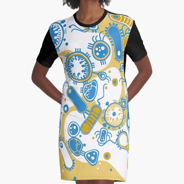 Eukaryote (yellow + blue) Graphic T-Shirt Dress
