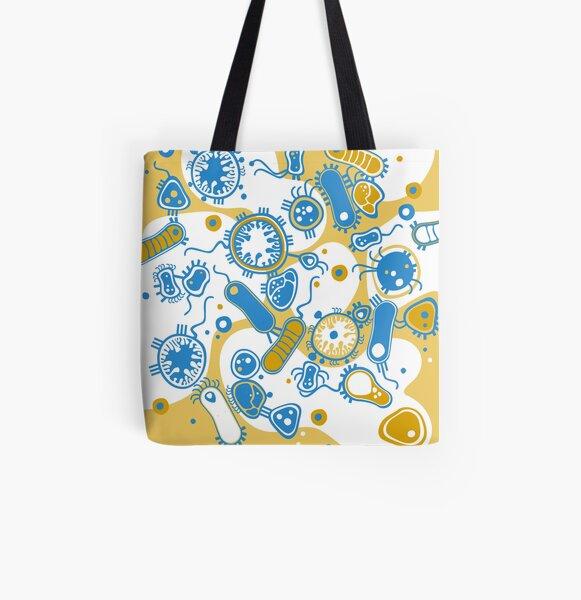 Eukaryote (yellow + blue) All Over Print Tote Bag