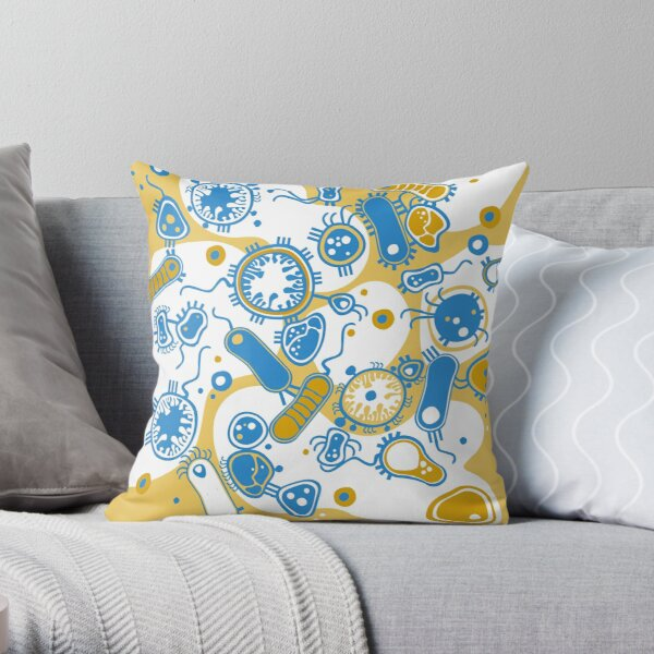 Eukaryote (yellow + blue) Throw Pillow