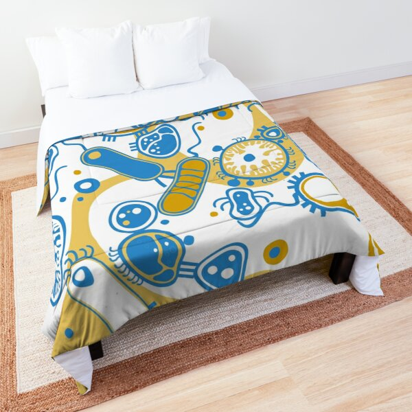 Eukaryote (yellow + blue) Comforter