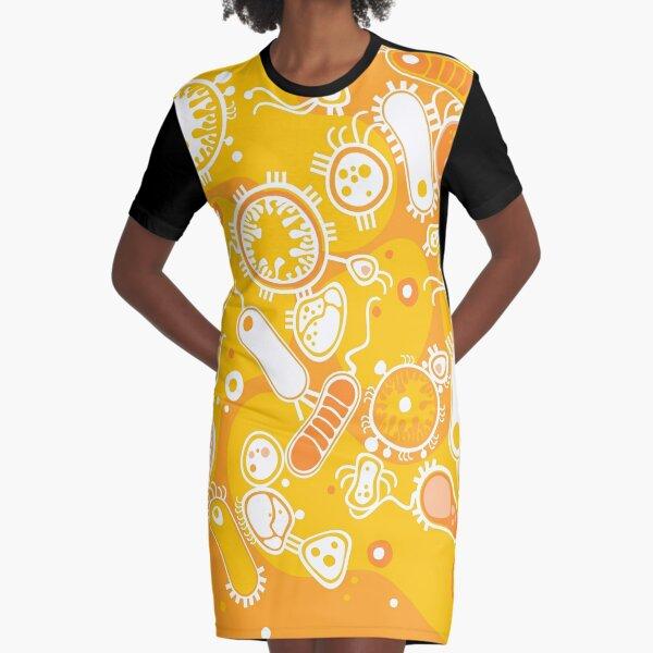 Eukaryote (white + yellow) Graphic T-Shirt Dress