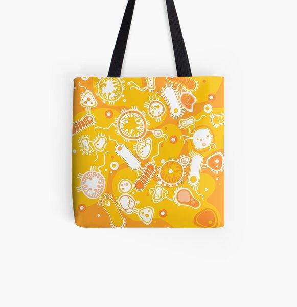 Eukaryote (white + yellow) All Over Print Tote Bag