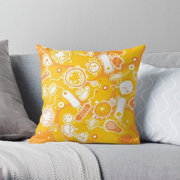 Eukaryote (white + yellow) Throw Pillow