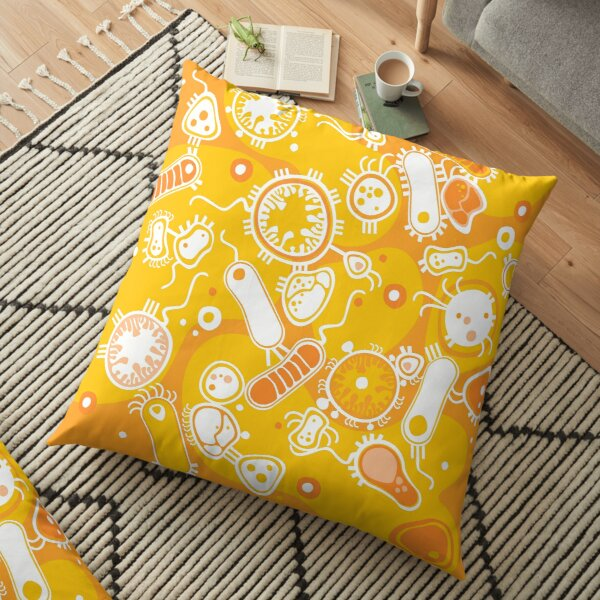 Eukaryote (white + yellow) Floor Pillow