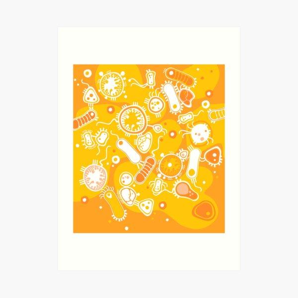 Eukaryote (white + yellow) Art Print