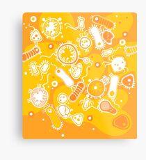 Eukaryote (weiß + gelb) Metallbild